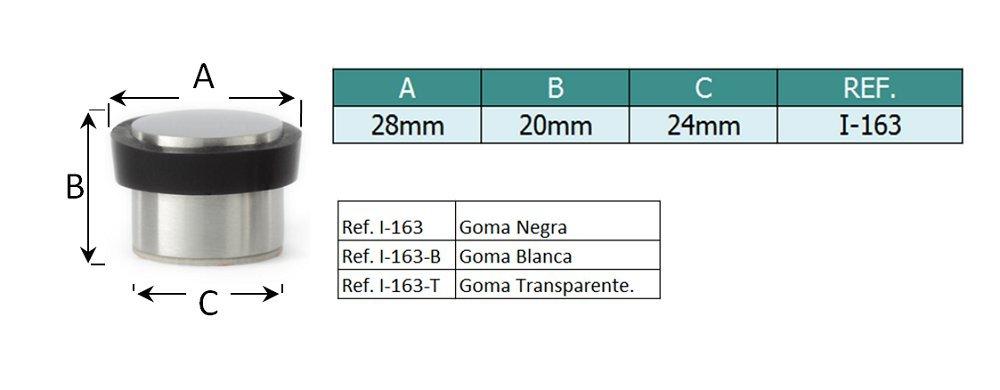 EVI Hardware I-163-T Fermaporta adesivo, in acciaio Inox mate Satinato e gomma transparente. EVI Herrajes 040163TAM