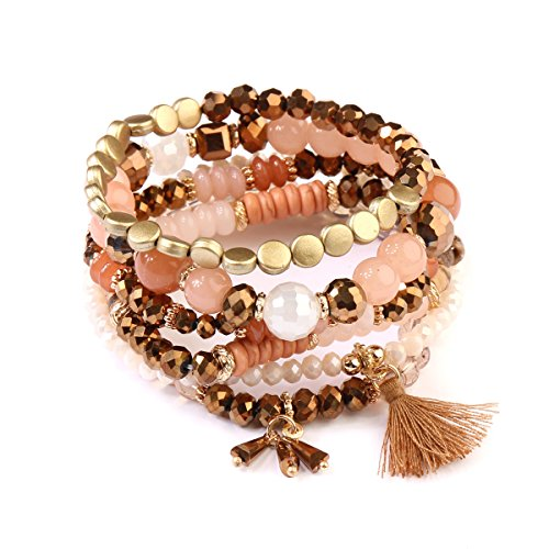 RIAH FASHION Bohemian Multi-Layer Sparkly Crystal Bead Charm Bracelet - Stretch Strand Stackable Bangle Set Tassel/Coin/Lava Diffuser Crescent (Charm Tassel - Light Brown)