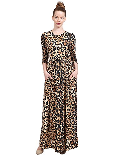 NE PEOPLE Women's Bohemian Round Neck 3/4 Sleeve Printed Maxi Dress With - Print Dress Banded Scarf