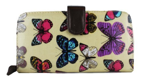 (Miss Lulu Women's Designer Oilcloth Owl Spot Polka Dots Folded Zip Wallet Purse Bag 2 Beige )