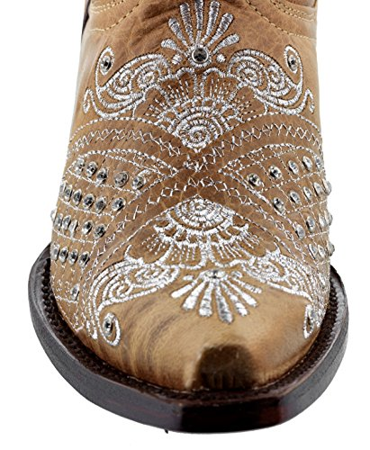 Cowboy Professionale Da Donna Marrone Marfil Strass Da Sposa Stivali Da Cowboy Snip Sabbia