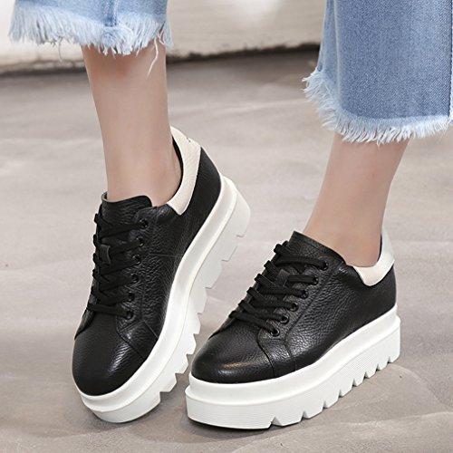 Mujer con Cordones Zapatos negro Planos JRenok 4qwxIRZ0I