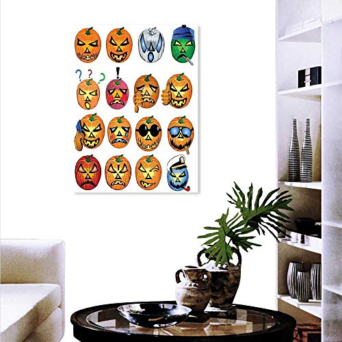 Anyangeight Halloween Canvas Wall Art Set Carved Pumpkin Emoji Faces Halloween Inspired Humor Hipster Monsters Artwork Background Wall Stickers 24