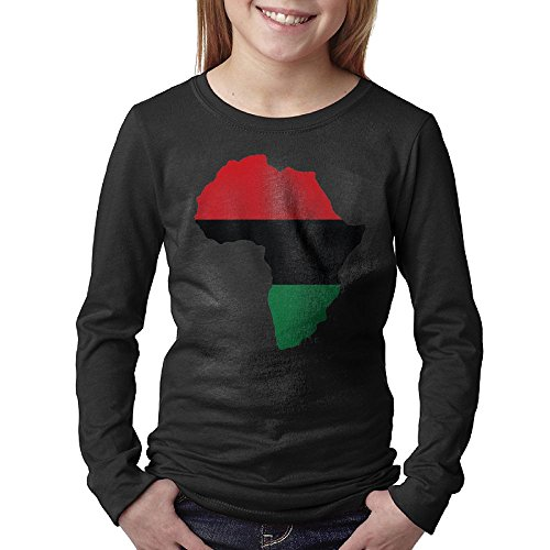 Red, Black And Green Africa Flag Youth Casual Long Sleeve Round Neck Sweatshirt T-Shirt - Eyeglasses Delaware