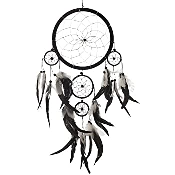 "Dream Catcher ~ Handmade Traditional Black, White & Silver 8"" Diameter & 22"" Long!"