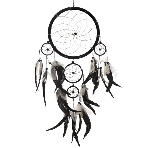 Dream Catcher ~ Handmade Traditional Black, White  Silver 8 Diameter  22 Long!