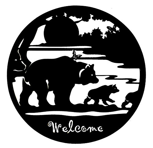 Bellaa 21871 Bear Metal Wall Art Laser Cut Cabin Welcome 24 inch
