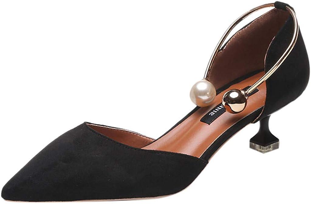 Sandalias para Mujer, Verano Zapatos de Tacón de Aguja Puntiagudo Punta Cerrada Diseño Elegante Modo Elegante para Fiesta Zapatos Tacón Alto Zapatillas vpass