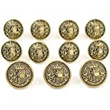 "MetalBlazerButtons.com Brand - ANTIQUE GOLD - SALZBURG LION CREST - (11-Button, Single Breasted) METAL BLAZER BUTTON SET - 7/8"" & 5/8"" BUTTONS"