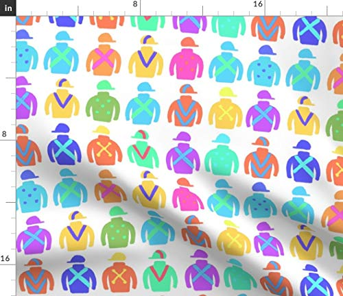 Spoonflower Equestrian Fabric - Derby Horse Racing Jockey by Cooper+Craft Printed on Modern Jersey Fabric by The Yard - Knit Fabric Silk Jersey