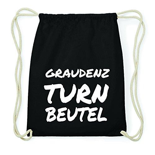 JOllify GRAUDENZ Hipster Turnbeutel Tasche Rucksack aus Baumwolle - Farbe: schwarz Design: Turnbeutel