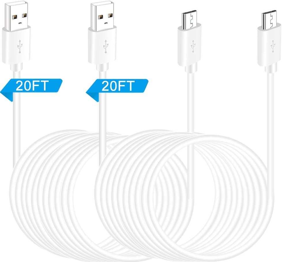 20FT 2Pack Power Extension Cable for WyzeCam, Yi Camera, Oculus Go, Echo Dot Kid Edition, Netvue, Nest Cam, Arlo Pro Q, Blink, Furbo Dog and Home Smart Security Camera Charging Cord