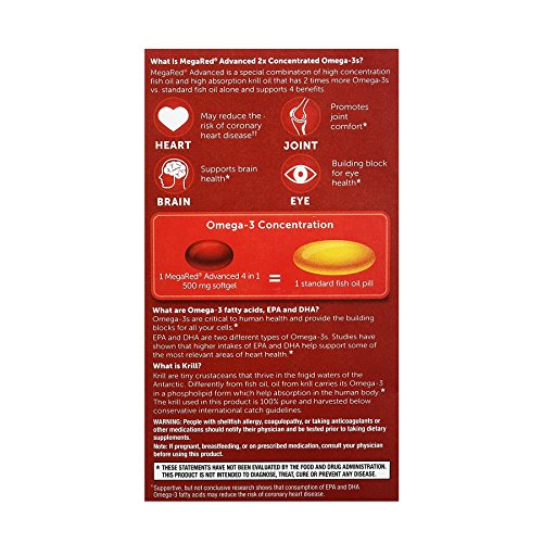 Megared advanced 4 in 1 concentrated omega 3 fish krill for Megared vs fish oil