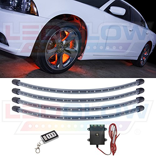 LEDGlow 4pc Orange LED Wheel Well Fender Light Kit - Flexible Water-Resistant Tubes - Includes Wireless Remote
