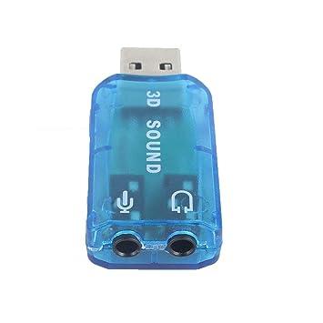 Zinniaya Tarjeta de Audio 3D compacta portátil USB 1.1 Adaptador ...