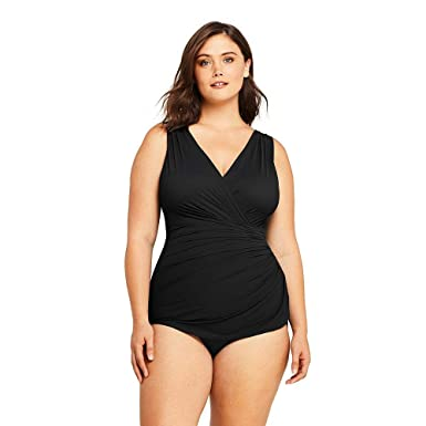 cd8d1c5408c Lands  End Women s Plus Size Slender Surplice Tunic One Piece Swimsuit with Tummy  Control at Amazon Women s Clothing store