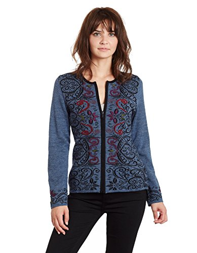 Invisible World Women's Baby Alpaca Reversible Cardigan Arabesque Denim SM Baby Alpaca Jacket