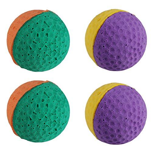 (UEETEK 4Pcs Cute Latex Ball Pet Toys Sponge Balls Kitty Kitten Cat Catcher Toys (Random Color))