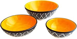 Ayennur Turkish Decorative Ceramic Bowls Set of 3 for Soup,Salad,Rice,Spice or Pasta Serving with Finger bowl