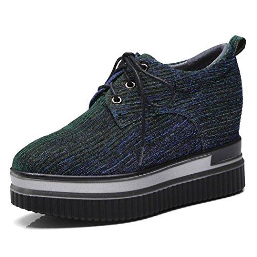 GAOLIXIA Zapatos Casuales para Mujer Otoño Nuevo Muffin Wedge High Heels Zapatos Planos Ocasionales Mocasines de Moda Verde