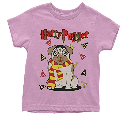 Harry Potter Like Scarf (Expression Tees Youth Harry Pugger Pug With Scarf T-Shirt Medium Light Pink)
