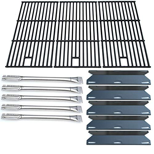 Direct store Parts Kit DG180 Replacement Perfect Flame 5 Burner 720-0522; Charmglow 5 Burner 720-0396,720-0578 Gas Grill(SS Burner + Porcelain Steel Heat Plate + Porcelain Cast Iron Cooking Grid) (Replacement Charmglow Parts Grill)