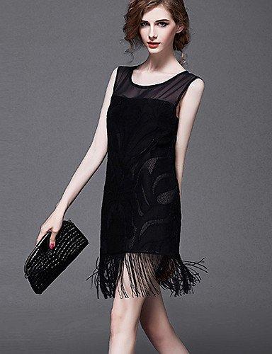 PU&PU Robe Aux femmes Trapèze Street Chic,Couleur Pleine Col Arrondi Au dessus du genou Polyester , black-m , black-m