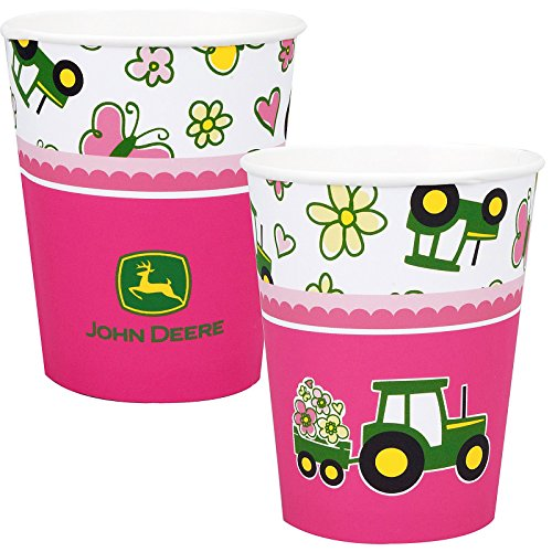 John Deere Pink 9 oz. Paper Cups (8) -