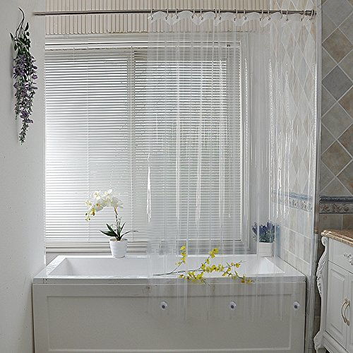UFRIDAY PEVA Shower Curtain Liner, Waterproof and Mildew-Resistant for Home/Hotel, Crystal Clear Bathroom Curtain Liner Eco-Friendly with 2 Magnetic Bottom, Stall Size, 36 x 72 inch