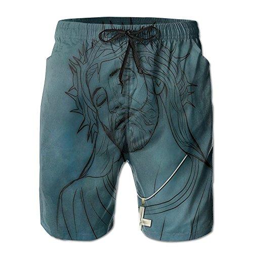 Christian Jesus Christ Suffer Calamities Portrait Beach Board Shorts Mens Pants Swim Suit Trunks Sportswear by DerlonKaje