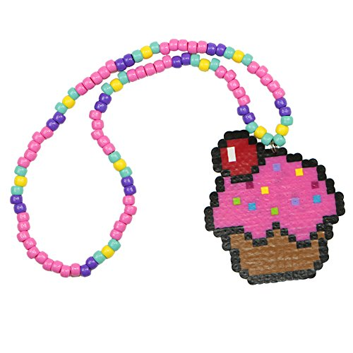 Cupcake Kandi Necklace, Perler Necklace, Rave Beaded Necklaces