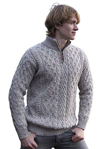 100% Irish Merino Wool Half Zip Aran Sweater, Oatmeal,X-Large - Half Zip Wool Sweater