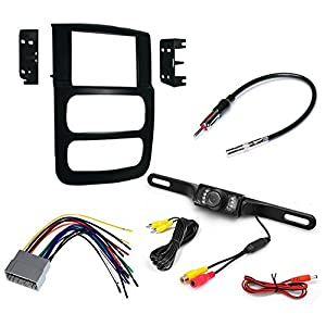CAR CD STEREO RECEIVER DASH INSTALL MOUNTING KIT WIRE HARNESS + RADIO ANTENNA ADAPTER+ REAR VIEW CAMERA FOR DODGE RAM TRUCK 2002 - 2005
