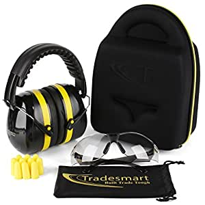 TRADESMART BUILT TRADE TOUGH Tradesmart Ear Muffs, Protective Case, Earplugs and Adjustable Gun Safety Glasses (1pk Clear)