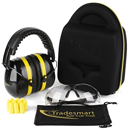 TRADESMART Shooting Ear Muffs, Protective Case, Gun Safety Glasses & Earplugs - UV400 Anti Fog & Anti Scratch with Microfiber Pouch | Gun Range Ear Protection & Eye Protection for Shooting (Indoor Range Gun)
