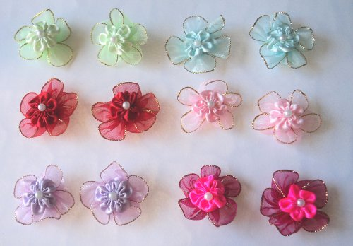 Pack of 12 Dog Hair Bows (1.5 inch) with French clip or Rubber Band - A total of 6 pairs with different colors