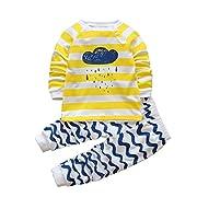 2pcs Toddler Boy Clothes Sets Baby Outfits Infant Pajamas Long Sleeve Shirt Pants(White, 6M)