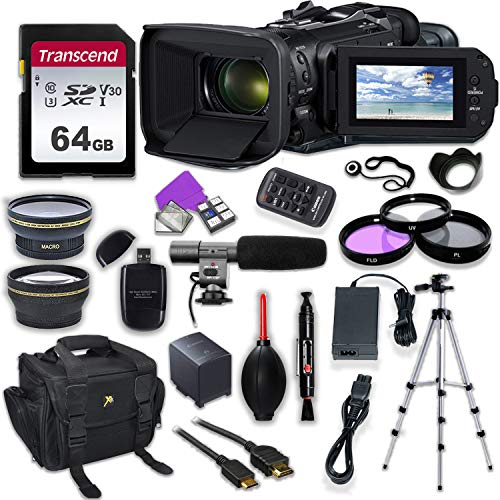 (Canon Vixia HF G60 UHD 4K Camcorder with Premium Accessory Kit Including Padded Bag, Microphone, Filters & 64GB High Speed U3 Memory)