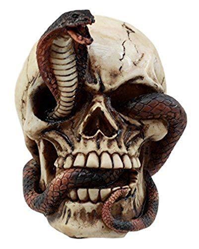 Ky & Co YesKela Human Skull Eating Snake Cobra Skeleton Figurine Collection Statue Halloween