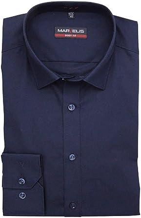 Camisa Marvelis, de manga larga, New Kent, con cuello, de color blanco: Amazon.es: Ropa y accesorios