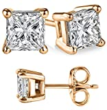 Genuine 925 Sterling Silver Rosegold Overlay with White Cubic Zirconia Cz Princess Stud Earrings (Solid Setting) Unisex Style Choose from Size Small 2mm-0.30(ctw) to Large 10mm-10.00(ctw)