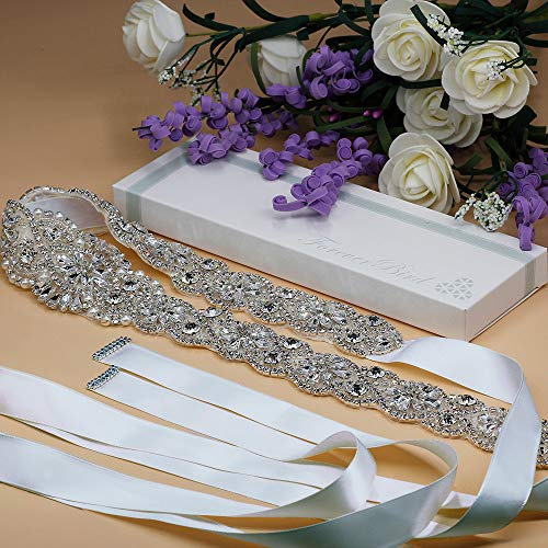 ForeverBird Long Rhinestone Wedding Belt Crystal Sash Belts for Bridal Bridesmaid Gowns Dresses (Silver,White Ribbon)