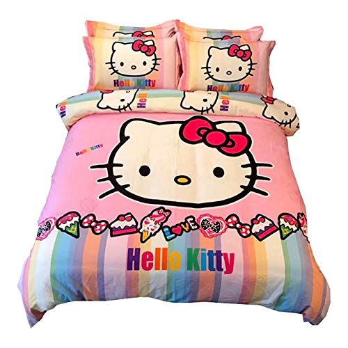 Peachy Baby Featuring Hello Kitty Bedding Set 【100% Cotton】 Single Queen King Twin Full Size 【Free Express Shipping】 3 and 4 Pieces Pink Cute Cartoon Animate Girly (King Size)