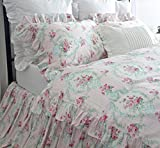 Shabby Floral Duvet Cover French Country Ruffle Bedding Set