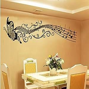 Pegatina de vinilo decorativo de mariposa con notas - Amazon decoracion pared ...