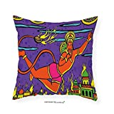 VROSELV Custom Cotton Linen Pillowcase Psychedelic Traditional Ethnic Ramayan Epic Legend Divine Culture Sacred Holy Avatar Design for Bedroom Living Room Dorm Multi 24''x24''