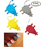 JM-capricorns 4 Pack Universal Silicone Door Stopper Finger Protector-Premium Cute Colorful Cartoon Mouse Style- Flexible Silicone Door Stops (Multiple colors)