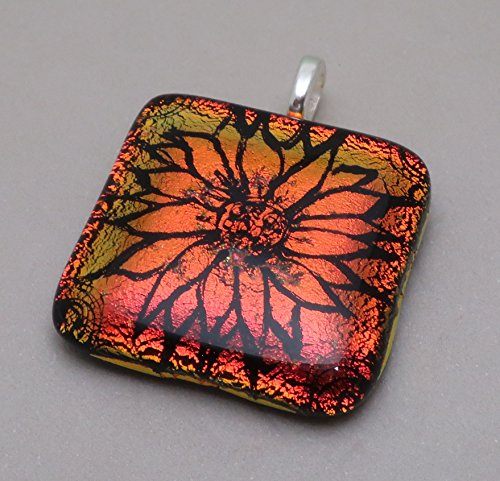 Large Focal Statement Engraved Orange Red Sunflower fused dichroic glass pendant (Jewelry Glass Fused Dichroic)