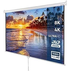 Pantalla de proyección Enrollable, Apta para HDTV, 203 x 203 cm, Pantalla Diagonal 113'', de Color Blanco, Pantalla para proyector, Accesorio para proyectores, Longitud Ajustable