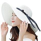 Women's Big Brim Sun Hat Floppy Foldable Bowknot Straw Hat Summer Beach Hat UPF 50+ White